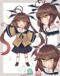 ! 1girl ahoge bangs black_skirt brown_footwear brown_hair brown_shirt eyebrows_visible_through_hair finesoda food girls_frontline heart ice_cream loafers long_hair long_sleeves looking_at_viewer m14_(girls_frontline) multicolored_hair multiple_views open_mouth pleated_skirt shirt shoes skirt triangle_mouth twintails two-tone_background white_background white_legwear wide_sleeves yellow_eyes younger