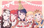 1boy 4girls alfonse_(fire_emblem) anna_(fire_emblem) anniversary black_gloves blonde_hair blue_eyes blue_hair breasts brother_and_sister cake cleavage closed_eyes closed_mouth crown d0o00o0b earrings eir_(fire_emblem) feh_(fire_emblem_heroes) fire_emblem fire_emblem_heroes fjorm_(fire_emblem_heroes) food gloves gradient_hair grin hair_ornament hat jewelry long_hair multicolored_hair multiple_girls nintendo one_eye_closed open_mouth party_hat pink_hair ponytail red_eyes redhead sharena short_hair siblings silver_hair smile
