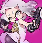 +_+ 1girl artist_name bangs blunt_bangs blurry blurry_foreground commentary crown depth_of_field domino_mask dress fangs foreshortening grey_eyes grey_hair grey_legwear half-closed_eye hime_(splatoon) light_particles looking_at_viewer mask medium_hair mole mole_under_mouth open_mouth pantyhose short_dress signature sleeveless sleeveless_dress smirk solo splat_dualies_(splatoon) splatoon splatoon_(series) splatoon_2 standing tentacle_hair ueda_kou white_dress zipper zipper_pull_tab
