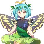 1girl antennae bangs bare_arms black_shirt blue_hair breasts butterfly_wings caramell0501 commentary cowboy_shot english_commentary eternity_larva eyebrows_visible_through_hair green_skirt hair_between_eyes leaf looking_at_viewer orange_eyes shirt short_hair simple_background skirt small_breasts smile solo touhou white_background wings