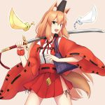 >:d 1girl akahi242 animal_ear_fluff animal_ears blonde_hair cowboy_shot eyebrows_visible_through_hair fate/extra fate/extra_ccc fate/extra_ccc_fox_tail fate_(series) fox_ears fox_tail hair_between_eyes highres holding holding_sword holding_weapon japanese_clothes katana long_hair looking_at_viewer open_mouth pink_background simple_background solo suzuka_gozen_(fate) sword tail weapon yellow_eyes