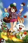 1girl alex_ahad backpack bag brown_eyes brown_hair creatures_(company) female_protagonist_(pokemon_swsh) fire game_freak gen_8_pokemon grass green_hat grookey hat highres nintendo poke_ball pokemon pokemon_(creature) pokemon_(game) pokemon_swsh scorbunny sobble tam_o'_shanter