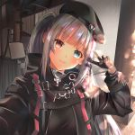 1girl bangs beret black_gloves black_hat blue_eyes blurry blush bokeh depth_of_field eyebrows_visible_through_hair girls_frontline gloves gonzz_(gon2rix) grey_hair hands_up hat head_tilt heterochromia highres long_hair long_sleeves looking_at_viewer mdr_(girls_frontline) multicolored_hair one_side_up pink_eyes pink_hair pink_lips self_shot sidelocks smile solo strap streaked_hair tactical_clothes upper_body v