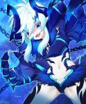 1girl armor artist_name blue_background blue_eyes blue_horns chains commentary_request demon demon_girl demon_horns elsword eyebrows_visible_through_hair fangs fur_trim guamon hair_between_eyes horns leg_tattoo long_hair looking_at_viewer navel open_mouth pointy_ears short_hair solo tattoo white_hair