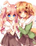 2girls :d animal_ear_fluff animal_ears blue_eyes blush bone_hair_ornament bow brown_bow brown_eyes brown_hair brown_skirt bunny_girl bunny_tail carrot_hair_ornament commentary_request dog_ears dog_girl dog_tail flower food_themed_hair_ornament green_jacket hair_bow hair_flower hair_ornament hairclip hand_holding haru_ichigo highres interlocked_fingers jacket long_hair multiple_girls open_clothes open_jacket open_mouth original pink_hair pleated_skirt puffy_short_sleeves puffy_sleeves rabbit_ears ringlets sailor_collar shirt short_sleeves skirt smile tail twintails very_long_hair white_bow white_flower white_sailor_collar white_shirt