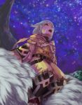 1girl animal_ears bodysuit byakko_(xenoblade) cat_ears facial_mark from_below fur gloves highres looking_up night night_sky nintendo niyah open_mouth riding short_hair sitting sky white_gloves xenoblade_(series) xenoblade_2 yellow_eyes