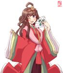 1girl alternate_costume artist_logo blush brown_hair cowboy_shot crown dated double_bun eyebrows_visible_through_hair fan folding_fan hair_between_eyes hair_ornament highres japanese_clothes kanon_(kurogane_knights) kantai_collection kimono kongou_(kantai_collection) long_hair long_sleeves looking_at_viewer obi one_eye_closed open_mouth saishi sash signature simple_background smile solo violet_eyes white_background wide_sleeves