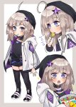 1girl aa-12_(girls_frontline) ahoge black_hat black_legwear blue_eyes boots candy choker commentary_request finesoda food girls_frontline hair_ornament hat holding_lollipop hood hood_down hooded_coat licking lollipop long_sleeves mouth_hold multiple_views open_clothes open_mouth shorts sidelocks silver_hair star star_hair_ornament thigh-highs younger