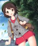 1girl :d backpack bag bangs blush brown_eyes brown_hair building creatures_(company) female_protagonist_(pokemon_swsh) game_freak green_hat hat looking_at_viewer murano nintendo open_mouth outdoors pokemon pokemon_(game) pokemon_swsh shirt short_hair smile solo tam_o'_shanter thighs tree