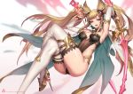 1girl animal_ears armpits arms_up ass bangs blonde_hair bracelet breasts breasts_apart brown_eyes cape detached_collar detached_sleeves dual_wielding erune granblue_fantasy hair_ornament highres holding holding_sword holding_weapon jewelry legs_crossed leotard long_hair looking_to_the_side medium_breasts metera_(granblue_fantasy) mole mole_under_mouth oopartz_yang open_mouth patreon_username solo strapless swept_bangs sword thigh-highs twintails watermark weapon web_address white_legwear