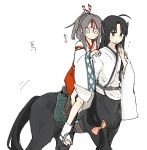 2girls absurdres ahoge black_hair blush brown_eyes brown_hair centaur hachimaki headband high_ponytail highres hinata_hibari horse_tail horseback_riding japanese_clothes kantai_collection long_hair monster_girl multiple_girls multiple_legs ponytail riding saddle shouhou_(kantai_collection) tail translation_request white_background zuihou_(kantai_collection)