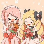 >_< 2girls black_bow blonde_hair blush bouquet bow closed_eyes cute dress elise_(fire_emblem_if) fire_emblem fire_emblem_heroes fire_emblem_if flower hair_bow hairband holding holding_bouquet intelligent_systems long_hair multicolored_hair multiple_girls nintendo open_mouth pink_hair purple_hair sakura_(fire_emblem_if) short_hair shunrai simple_background strapless strapless_dress twintails wedding_dress