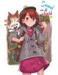 1girl absurdres backpack bag bangs brown_eyes brown_hair closed_mouth collared_shirt copyright_name creatures_(company) dress_shirt female_protagonist_(pokemon_swsh) game_freak gen_8_pokemon green_hat grey_sweater hat highres holding holding_poke_ball hood hooded_sweater long_sleeves looking_at_viewer miniskirt nintendo open_mouth poke_ball pokemon pokemon_(creature) pokemon_(game) pokemon_swsh purple_shirt purple_skirt scorbunny shirt short_hair skirt smile solo sweater tam_o'_shanter tokage_(ragou_boss)