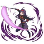 1girl :d ahoge augma belt blue_legwear boots dress floating_hair gloves hairband highres holding holding_sword holding_weapon leg_up long_hair looking_at_viewer official_art open_mouth outstretched_arm purple_dress purple_footwear purple_gloves purple_hair red_eyes red_hairband short_dress smile solo sword sword_art_online thigh-highs transparent_background very_long_hair weapon yuuki_(sao)