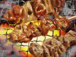 chicken_(food) cooking fire food meat no_humans original toketsu_jirou yakitori