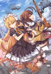 2girls absurdres ahoge aircraft battle_rifle blonde_hair brown_hair commentary earrings frills girls_frontline grin gun handgun helicopter highres jewelry kaiyi looking_at_viewer looking_back m14 m14_(girls_frontline) magazine_(weapon) maid_headdress multiple_girls off_shoulder pantyhose pistol polka_dot polka_dot_legwear ppk_(girls_frontline) rifle single_earring skirt smile thigh-highs trigger_discipline twintails walther walther_ppk weapon yellow_eyes