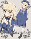 1girl alternate_costume alternate_hairstyle ankle_boots ascot bangs beret birthday blonde_hair blunt_bangs blush boots bow bowtie braid buttons casual dress dual_persona french_text glasses green_eyes hair_bow hands_clasped happy_birthday hat highres kaneko_(novram58) long_hair looking_at_viewer own_hands_together perrine_h_clostermann rimless_eyewear sailor_dress smile strike_witches twin_braids uniform world_witches_series younger