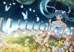 1girl absurdres aqua_eyes aqua_hair bangs barefoot collarbone dress dutch_angle eyebrows_visible_through_hair feet floating_hair flower full_body grass hatsune_miku highres long_hair outdoors scrunchie sky solo star_(sky) starry_sky swing swinging tree twintails very_long_hair vocaloid white_dress yue_yue