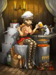 1girl :d bangs belt belt_pouch boots bottle bread breasts brown_eyes brown_hair cake candle carrot cat choker cleavage collarbone cookie earrings eating food fried_chicken fruit full_body graphite_(medium) gurimjang heart heart_choker heart_print highres jewelry kitchen_knife large_breasts leaning_forward looking_at_viewer meat mechanical_pencil milk_carton miniskirt open_mouth original pasta pencil pink_bikini_top pleated_skirt pot potato pouch red_choker red_skirt short_hair sitting skirt smile solo stove strawberry stud_earrings table thigh-highs thigh_boots toenail_polish traditional_media wooden_floor