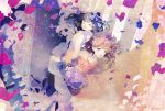 2girls :o ;o bare_shoulders black_hair blue_flower bouquet brown_hair dress earrings flower hair_flower hair_ornament hoyako_yj jewelry locked_arms long_hair looking_at_viewer multiple_girls one_eye_closed original picture_frame purple_flower violet_eyes wedding_dress white_earrings yellow_eyes