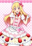 1girl :d aikatsu! aikatsu!_(series) alternate_costume blonde_hair blueberry blush bow bowtie commentary_request dress dress_bow enmaided eyebrows_visible_through_hair food frilled_dress frills fruit gloves hair_bow highres hinnu@ao hoshimiya_ichigo long_hair maid maid_headdress open_mouth pink_background polka_dot polka_dot_background puffy_short_sleeves puffy_sleeves red_eyes short_sleeves smile strawberry upper_body whipped_cream white_gloves