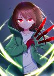 1other artist_request brown_hair chara_(undertale) commentary_request eyebrows_visible_through_hair eyelashes gloves green_hoodie highres hood hoodie knife long_sleeves looking_at_viewer magic open_clothes open_hoodie red_eyes red_gloves shirt short_hair solo storyshift undertale white_shirt
