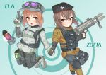 2girls :d absurdres ankle_boots antyobi0720 bangs beret black_gloves black_hat black_legwear black_pants body_armor boots brown_eyes brown_hair brown_jacket character_name closed_mouth commentary_request ela_(rainbow_six_siege) emblem eyebrows_visible_through_hair fingerless_gloves girls_und_panzer gloves goggles goggles_on_headwear green_background green_gloves grey_footwear grey_hat grey_jacket grey_shorts gun hand_holding handgun harness hat headphones highres holding holding_gun holding_weapon holster hood hoodie jacket jumping knee_pads legwear_under_shorts light_blush long_sleeves looking_at_viewer military_hat multiple_girls nishizumi_maho nishizumi_miho open_mouth pants pantyhose partial_commentary pinky_out rainbow_six_siege short_hair short_shorts shorts siblings sisters smile standing target thigh_holster trigger_discipline weapon weapon_request zofia_(rainbow_six_siege)