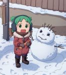 1girl :d absurdres boots brown_footwear carrot child coat earmuffs eyebrows_visible_through_hair food footprints fur-trimmed_coat fur_trim furin94 green_eyes green_hair highres holding holding_food hooded_coat koiwai_yotsuba looking_at_viewer open_mouth quad_tails red_coat scarf short_hair smile snow snowman solo standing telephone_pole winter_clothes winter_coat yotsubato! zipper zipper_pull_tab