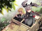 3girls anchovy anzio_military_uniform aqua_hair armband belt blonde_hair blurry_foreground bow carpaccio carro_veloce_cv-33 commentary_request drill_hair from_above girls_und_panzer green_eyes ground_vehicle hair_bow hatch kws leaf looking_at_viewer military military_vehicle motor_vehicle multiple_girls open_mouth pepperoni_(girls_und_panzer) red_eyes sam_browne_belt signature sitting smile tank twin_drills twintails