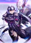 1girl armor armored_dress bangs banner black_capelet black_dress black_legwear breasts capelet chains dress fate/grand_order fate_(series) flag fur_collar gauntlets hand_up headpiece holding holding_flag jeanne_d'arc_(alter)_(fate) jeanne_d'arc_(fate)_(all) large_breasts lavender_hair orange_eyes shiimo short_hair smile solo thigh-highs thigh_gap thighs torn_clothes