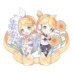 1boy 1girl absurdres bare_shoulders beamed_sixteenth_notes blonde_hair blush bow chaji_xiao_bai chibi collared_shirt detached_sleeves flower green_eyes hair_bow hair_ornament hairclip headphones heart highres holding_heart kagamine_len kagamine_rin leg_warmers musical_note neck_ribbon necktie ponytail ribbon sailor_collar shirt shorts shoulder_tattoo smile sunflower tattoo vocaloid white_background white_bow yellow_neckwear