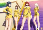 4girls agent_aika aika_(series) anak-ng-tinapay artist_logo artist_name bangs bianca_(agent_aika) black_eyes blue_hair bobby_socks breasts brown_eyes brown_hair cleavage cleavage_cutout closed_mouth commentary_request covered_navel delmogeny_uniform dress earrings expressionless golden_delmo hair_intakes hand_on_hip high_heels indoors jewelry juliet_sleeves large_breasts lipstick long_hair long_sleeves looking_at_viewer makeup medium_breasts multiple_girls panties pantyshot pantyshot_(standing) parted_bangs petoriyacowa_rie pink_lips puffy_sleeves redhead sania_(agent_aika) short_hair silver_hair small_breasts smile socks stairs standing taut_clothes thighs tonia underwear uniform white_legwear white_panties yellow_dress yellow_footwear