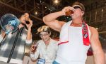 >_< (2ch) 2ch :d absurdres alcohol beer billy_herrington black_hair convention drinking earphones earphones gachimuchi glass glasses highres hiroyuki laughing megaphone muscle nishimura open_mouth real_life scarf smile sunglasses tank_top xd zun zun_hat