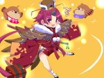 1girl apron bare_legs benienma_(fate/grand_order) bird bird_hat bird_tail comic commentary_request fate/grand_order fate_(series) feather_trim geta hand_on_hip hat long_sleeves looking_at_viewer onsen_symbol open_mouth ponytail redhead sako_(bosscoffee) sheath sheathed short_hair smile swallow sword tabi translation_request violet_eyes weapon wide_sleeves wings yellow_background