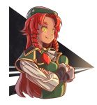 1girl absurdres beret braid breasts crossed_arms eyebrows forehead frills gem green_hat green_vest hat highres hong_meiling long_hair medium_breasts out_of_frame redhead shirt simple_background sleeves sleeves_past_elbows smile solo touhou transparent_background u-joe vest white_shirt yellow_eyes