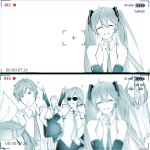 >_< 2boys 4girls \n/ absurdres arms_up bare_shoulders battery_indicator blurry bow closed_eyes commentary cosplay depth_of_field detached_sleeves hair_bow hair_ornament hairclip hands_on_hips hatsune_miku hatsune_miku_(cosplay) highres kagamine_len kagamine_rin kaito long_hair megurine_luka meiko monochrome motion_blur multiple_boys multiple_girls necktie photo recording short_hair skirt smile star sunglasses timestamp upper_body upside-down v very_long_hair viewfinder vocaloid yen-mi |_|