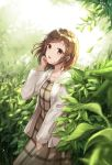 1girl backlighting bang_dream! bangs blurry blurry_foreground blush brown_dress brown_eyes brown_hair collared_dress commentary_request depth_of_field dress eyebrows_visible_through_hair grey_jacket hand_up hazawa_tsugumi jacket leaf long_hair long_sleeves looking_at_viewer lunacle open_clothes open_jacket open_mouth solo standing