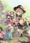 4girls :d ^_^ animal_ear_fluff animal_ears bangs black_bow black_footwear black_hairband black_hat black_skirt blue_shirt blue_sky blue_vest blush boots bow braid capelet cat_ears cat_tail closed_eyes closed_eyes commentary_request culter day dress epaulettes feet_out_of_frame frilled_hat frilled_shirt_collar frilled_sleeves frills grass green_dress green_eyes green_hair green_skirt grin hair_between_eyes hair_bow hair_ornament hairband hand_on_another's_head hand_up hands_up hat hat_bow hat_ribbon head_tilt heart heart_hair_ornament heart_of_string highres holding jizou juliet_sleeves kaenbyou_rin komeiji_koishi komeiji_satori long_sleeves looking_at_another looking_at_viewer mob_cap multiple_girls multiple_tails neck_ribbon nekomata open_mouth outdoors parted_lips paw_pose petticoat pink_hat pink_skirt puffy_sleeves purple_hair red_capelet red_neckwear red_ribbon ribbon rod_of_remorse shiki_eiki shirt short_hair siblings sisters sitting skirt sky smile standing standing_on_one_leg tail third_eye touhou tree twin_braids twintails two_tails vest violet_eyes white_ribbon wide_sleeves yellow_bow yellow_shirt