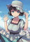 1girl absurdres animal bare_arms bird black_bow black_hair blue_eyes bow breasts clouds cloudy_sky collarbone commentary_request day dress eyebrows_visible_through_hair falling_leaves flower flying hand_on_headwear hat highres large_breasts leaf looking_at_viewer outdoors shiina_mayuri short_hair short_sleeves sky smile solo steins;gate white_dress white_flower yorishiem