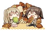 2girls :d baguette bangs black_pants blush_stickers bread brown_hair brown_jacket brown_shirt chibi chocolate_cornet closed_eyes closed_mouth commentary_request eating eyebrows_visible_through_hair food hair_between_eyes holding holding_food jacket kurata_rine light_brown_hair loaf_of_bread long_sleeves melon_bread multiple_girls open_clothes open_jacket open_mouth original pants plaid ponytail shirt shoe_soles shoes smile white_background white_footwear white_shirt