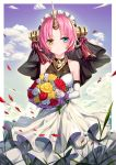 1girl :o bangs blue_eyes blue_sky blush bouquet breasts brown_eyes btraphen clouds cloudy_sky collarbone commentary_request day dress elbow_gloves fate/grand_order fate_(series) flower frankenstein's_monster_(fate) gloves highres holding holding_bouquet horn looking_at_viewer medium_breasts parted_bangs parted_lips petals pink_hair red_flower red_rose rose sky sleeveless sleeveless_dress solo veil white_dress white_flower white_gloves white_rose yellow_flower yellow_rose