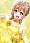 1girl 2019 alternate_hairstyle bangs birthday breasts commentary_request dated dress elbow_gloves eyebrows_visible_through_hair flower flower_choker gloves hair_bun hair_up kunikida_hanamaru light_brown_hair looking_at_viewer love_live! love_live!_sunshine!! medium_breasts petals rose sidelocks solo tiara yellow_dress yellow_eyes yellow_flower yellow_rose yopparai_oni