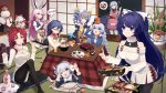 6+girls ahoge alcohol animal_ears apron bangs bare_shoulders black_legwear blue_eyes blue_hair blush bottle bow braid breasts bronya_zaychik casual chopsticks cleavage cleavage_cutout closed_mouth commentary_request cup cushion dango dress drill_hair earmuffs eyebrows_visible_through_hair food food_on_head fox_ears fruit fruit_on_head fu_hua fur_trim grin hair_between_eyes hair_bow hair_ornament hairband hand_up happy_new_year highres holding holding_chopsticks holding_cup holding_handheld_game_console holding_tray honkai_(series) honkai_impact_3 index_finger_raised jacket jewelry kadomatsu kagami_mochi kallen_kaslana kiana_kaslana kotatsu large_breasts logo long_hair looking_at_viewer mandarin_orange maneki-neko medium_breasts multiple_girls murata_himeko necklace new_year object_on_head open_mouth osechi pantyhose parted_lips pink_hair plate playing_games ponytail raiden_mei ribbed_sweater sake_bottle saucer seiza sharlorc shirt shiruko_(food) shouji side_braid sidelocks silver_hair sitting sliding_doors small_breasts smile sparkle spoken_food sushi sweater sweater_dress table tatami theresa_apocalypse thigh-highs translated tray turtleneck twin_braids twin_drills very_long_hair wagashi watermark white_legwear yae_sakura zabuton