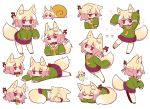 /\/\/\ 1girl animal_ear_fluff animal_ears arms_up bangs bell bell_collar blonde_hair blush brown_collar closed_eyes closed_mouth collar commentary_request eyebrows_visible_through_hair flying_sweatdrops fox_ears fox_girl fox_tail green_shirt hair_between_eyes hair_bun hair_ornament hand_to_own_mouth highres jingle_bell kemomimi-chan_(naga_u) long_sleeves lying multiple_views naga_u on_side on_stomach open_mouth original pleated_skirt profile purple_skirt red_eyes red_footwear ribbon-trimmed_legwear ribbon_trim sailor_collar shirt simple_background skirt sleeves_past_fingers sleeves_past_wrists snail_shell sparkle standing surprised tail thigh-highs white_background white_legwear white_sailor_collar