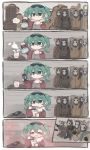 1girl 6+others animal_ears aqua_eyes blush brick_wall cellphone chibi chimney chopsticks closed_eyes comic commentary commentary_request earrings eating eyewear_on_head flower gaijin_4koma hatsune_miku highres hood hoodie horns jacket jewelry kaimo_(mi6kai) kettle multiple_others phone ramen skull_mask smartphone spaghetti_strap steam suna_no_wakusei_(vocaloid) sunglasses sweater vocaloid