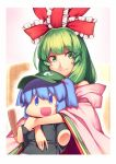 1girl :d alternate_costume bangs bare_shoulders black_shirt blue_eyes blue_hair blush cabbie_hat character_doll commentary_request detached_sleeves doll eyebrows_visible_through_hair frilled_ribbon frills green_eyes green_hair green_hat hair_bobbles hair_ornament hair_ribbon hat holding holding_doll kagiyama_hina kaiza_(rider000) kawashiro_nitori long_hair long_sleeves looking_at_viewer object_hug open_mouth outline pink_background red_ribbon ribbon shirt short_hair smile solo touhou two_side_up upper_body white_outline wide_sleeves
