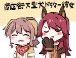2girls ^_^ animal_ears bang_dream! bangs blush_stickers brown_hair closed_eyes closed_eyes collar dog_ears fur-trimmed_sleeves fur_trim gyaheung hand_to_own_mouth multiple_girls paw_pose polka_dot polka_dot_background ponytail red_bandana red_collar redhead short_sleeves sidelocks translation_request u_u udagawa_tomoe upper_body yamabuki_saaya yellow_background