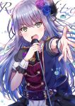 1girl absurdres back_bow bang_dream! bangs blue_flower blue_rose bow chains chromatic_aberration corsage corset epaulettes flower grey_hair hair_flower hair_ornament highres holding holding_microphone long_hair looking_at_viewer mia_(fai1510) microphone microphone_stand minato_yukina open_mouth outstretched_hand purple_flower purple_rose rose short_sleeves skirt solo upper_body v-shaped_eyebrows water_drop wrist_cuffs yellow_eyes