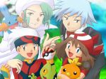 1girl 3boys :d asymmetrical_bangs ball bangs bird black_eyes black_hair blue_eyes brown_eyes brown_hair cape closed_mouth creature creatures_(company) day fingerless_gloves game_freak gen_3_pokemon gloves green_eyes green_hair grey_eyes grey_hair happy haruka_(pokemon) hat holding holding_ball holding_poke_ball holding_pokemon hug long_sleeves looking_at_viewer male_focus medium_hair mikuri_(pokemon) mudkip multiple_boys nintendo open_mouth outdoors poke_ball poke_ball_(generic) pokemon pokemon_(creature) pokemon_(game) pokemon_on_shoulder pokemon_rse red_bandana short_sleeves sidelocks smile torchic treecko tsuwabuki_daigo white_cape white_hat y@mato yellow_eyes yuuki_(pokemon)