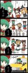 3girls 4koma :t apron bamboo black_eyes black_hair black_skirt black_vest blonde_hair braid chopsticks comic commentary_request cravat detached_sleeves dress driving eating eighth_note flat_cap front_ponytail green_eyes green_hair guitar hair_ribbon hakurei_reimu hat highres holding holding_chopsticks instrument jetto_komusou kagiyama_hina kirisame_marisa looking_at_another looking_at_viewer lute_(instrument) multiple_girls music musical_note nagashi_soumen open_mouth playing_instrument red_dress red_vest ribbon single_braid sitting skirt standing sweat taxi touhou translation_request ukulele vehicle vest waist_apron witch_hat yellow_eyes yellow_neckwear